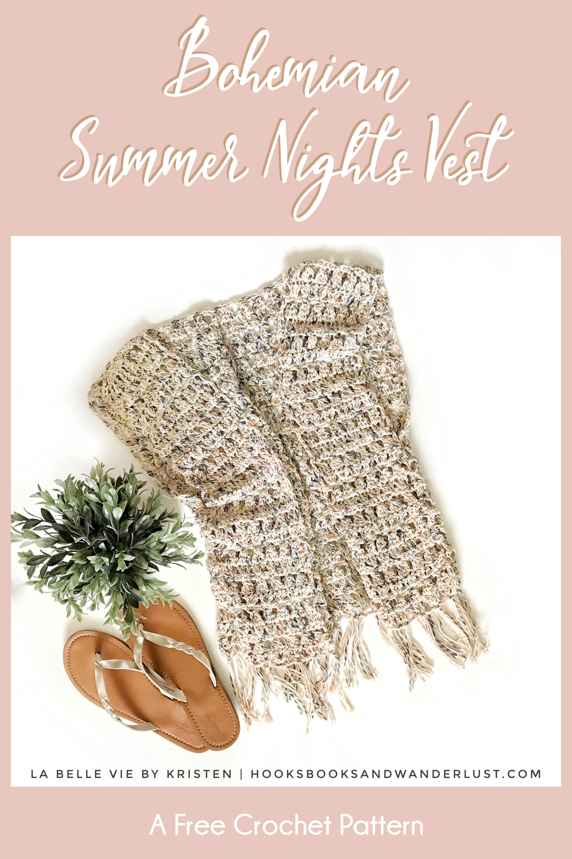 image about Printable Vest Pattern called Bohemian Summer time Evenings Vest Hooks, Textbooks, and Wanderlust